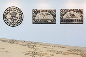 Mosaïque cratères et oiseaux au musée de Saint-Romain-en-Gal