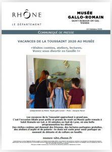 Communiqué de presse vacances de la Toussaint 2020